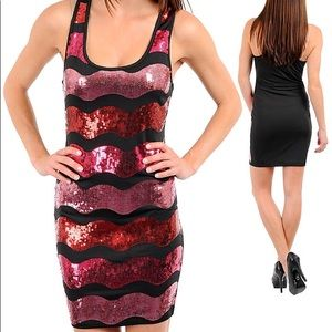 Sequin red black new years evening club mini dress